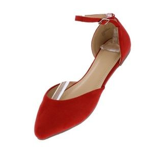 Red Pointed Toe Ankle Strap Dorsay Ballet Flat